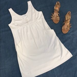 Tags on!! White cotton tank dress with pockets